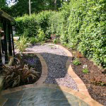 Paved and planted side passage