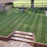 New garden turf and brick steps